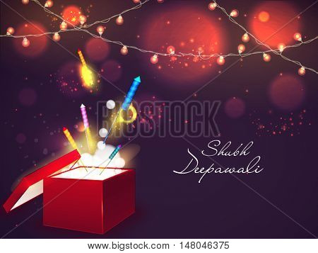 Colourful glossy Firecrackers coming out from an open box, Elegant glossy illuminated bulbs decorated background for Indian Festival of Lights, Diwali Celebration.