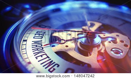 Pocket Watch Face with Geo Marketing Inscription on it. Business Concept with Film Effect. 3D Render.