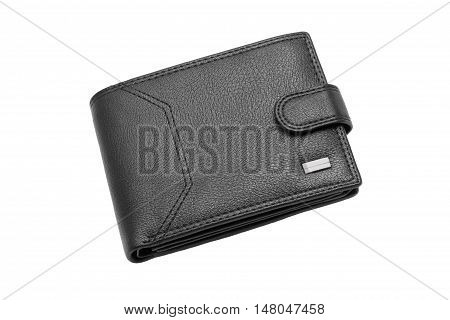 Black leather wallet isolated on a white background