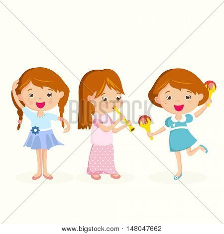 Girl playing on flute, girlfriend dancing. Children having fun and celebrating