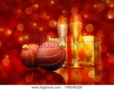 Christmas decoration baubles , champaigne flutes and golden giftbox on red glittery background , 3d illustration