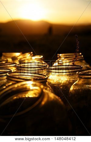 Set of empty bottling jars at sunset with miraculous evening light