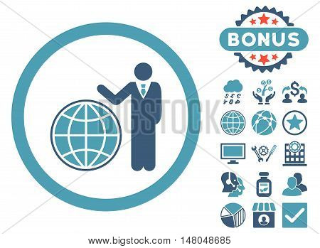 Global Manager icon with bonus pictogram. Vector illustration style is flat iconic bicolor symbols, cyan and blue colors, white background.
