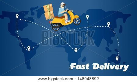 Delivery boy riding yellow scooter with cardboard boxes on background of world map with routes. Fast delivery banner, vector illustration. Motorcycle courier service. Worldwide shipping and moving.