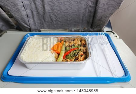 Meal box serve on airplane for passenger.