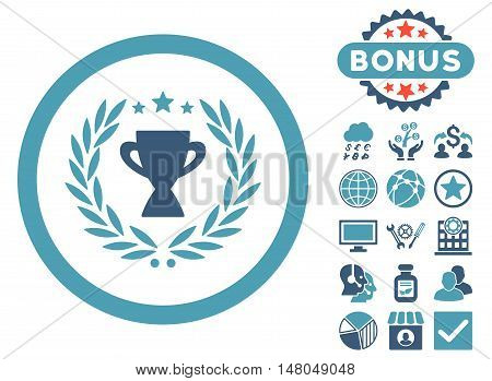 Glory icon with bonus design elements. Vector illustration style is flat iconic bicolor symbols, cyan and blue colors, white background.