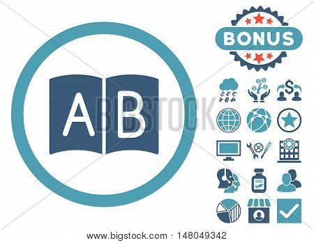 Handbook icon with bonus images. Vector illustration style is flat iconic bicolor symbols, cyan and blue colors, white background.