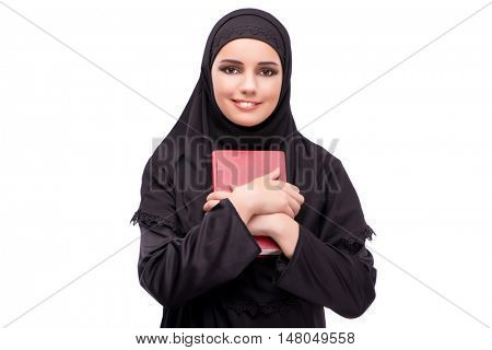 Muslim woman in black dress isolated on white