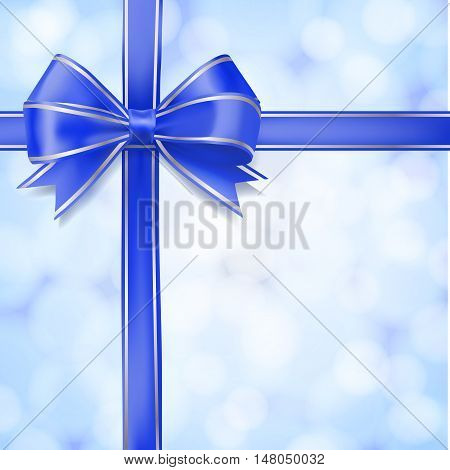 blue bow ribbon on abstract light blurry background. greeting design vector template