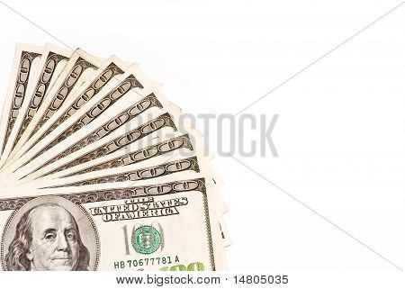 Ten Hundreds (One Thousand Dollars) of American currency with copy space.