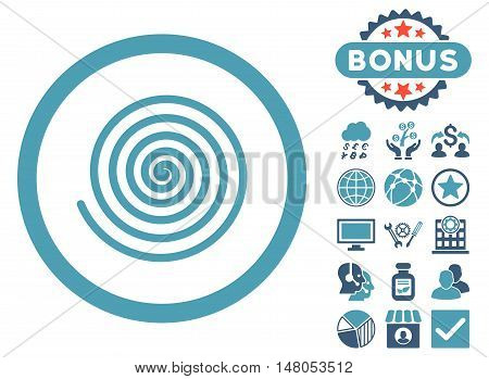 Hypnosis icon with bonus pictogram. Vector illustration style is flat iconic bicolor symbols cyan and blue colors white background.