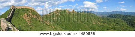 Large View Of The Great Wall Of China Ond The Mountains, China, Panorama
