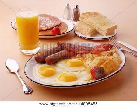 A typical hearty American breakfast