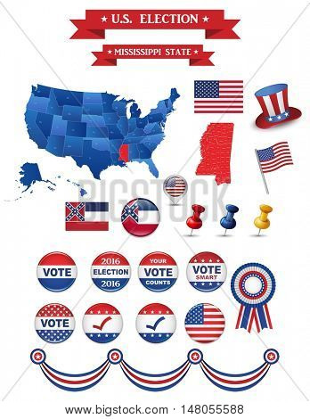 US Presidential Election 2016. Mississippi State Including High Detailed Map of Mississippi Perfect for Election Campaign