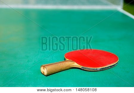 details of pingpong table with playing equipment
