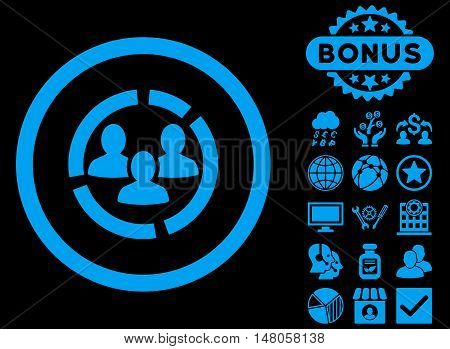 Demography Diagram icon with bonus pictures. Vector illustration style is flat iconic symbols, blue color, black background.
