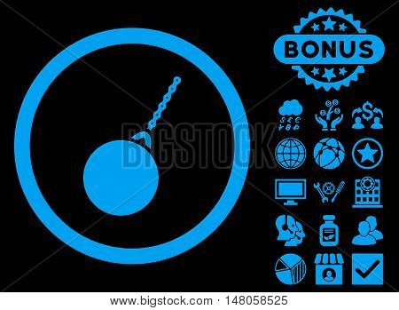 Destruction Hammer icon with bonus images. Vector illustration style is flat iconic symbols, blue color, black background.