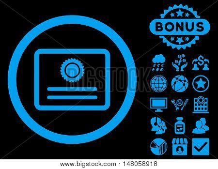 Diploma icon with bonus design elements. Vector illustration style is flat iconic symbols, blue color, black background.