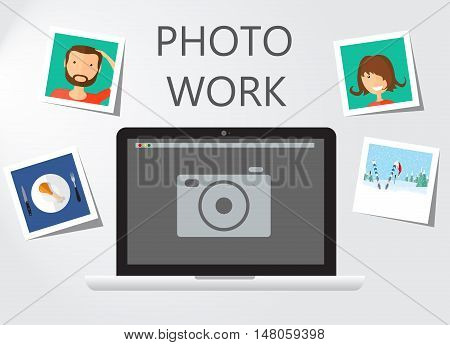 Photo work , Photo business. Journalist photographs illustration for your business presentation