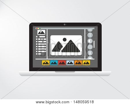 Graphical User Interface or GUI of an imagined Photo Editing Software or fictional version of a Graphic Design Application with widgets of an operating system. Flat Vector Eps10 illustration.