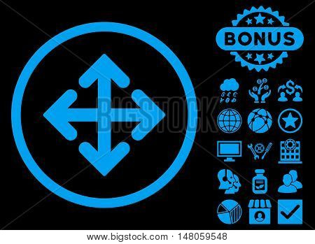 Direction Variants icon with bonus symbols. Vector illustration style is flat iconic symbols, blue color, black background.