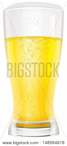 Lager light non alcoholic beer in glass. Isolated on white vector illustration