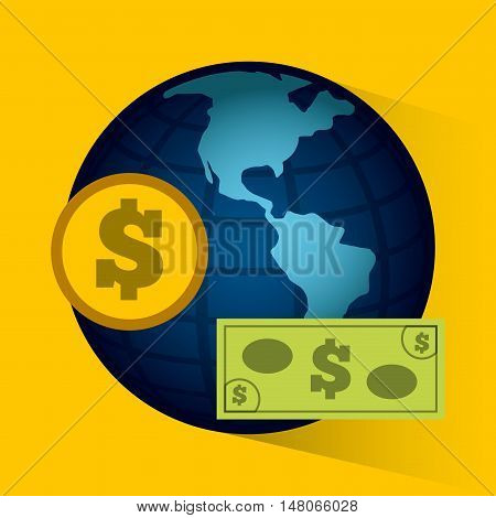 global economy planet concept vector illustration design