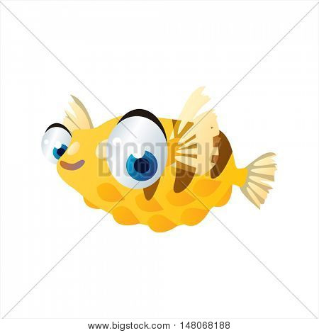 vector funny image of cute bright color underwater sealife animal. Pufferfish