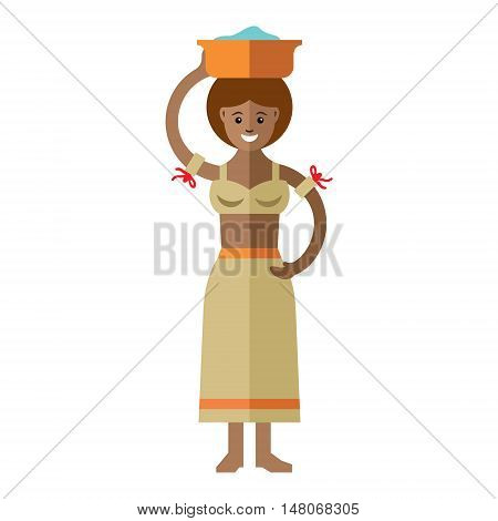 Lady carrying a basin on her head. Isolated on a white background