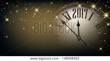 2017 New Year gray sparkling banner with clock. Vector illustration.