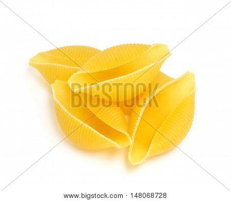 Uncooked pasta isolated on the white background