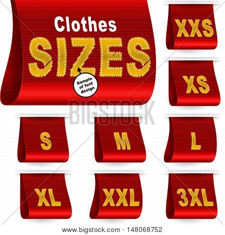 Clothes size labels with standard designation symbols of garment dimensions for customers - XXS XS S M L XL XXL XXXL; Font of symbols has design embroidered from threads; Red vector set Eps10