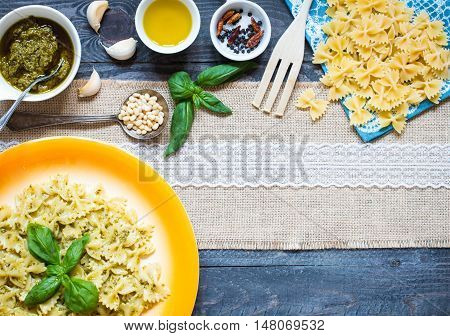 Italian Pasta With Pesto Sauce Made With Basil Leaf
