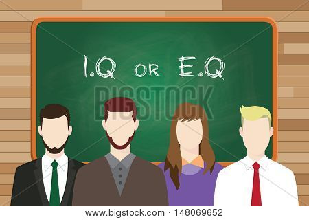 iq or eq intellectual or vs emotional question compare write on the board in front of business man and business woman vector