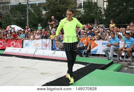 BELGRADE,SERBIA - SEPTEMBER 11 2016: Erica Jarder testing long jump runway for competition as promotion of European athletics indoors championship which will be held from 3-5.March 2017 in BelgradeSerbia