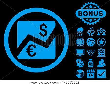 Euro Dollar Chart icon with bonus pictogram. Vector illustration style is flat iconic symbols, blue color, black background.