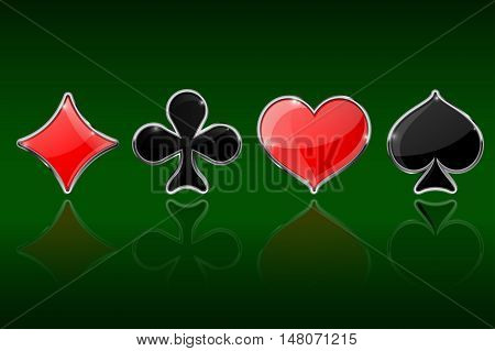 Card suits on green background. Diamonds clubs hearts spades. Vector illustration