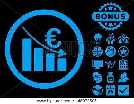 Euro Recession icon with bonus images. Vector illustration style is flat iconic symbols, blue color, black background.