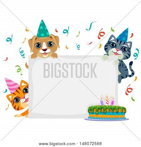 Vector Illustration of Pet Birthday in Blank Board