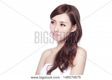 Face Skin Problem - young woman unhappy with her skin isolated concept for skin care asian
