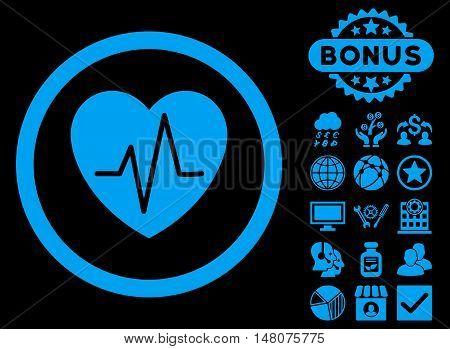 Heart Ekg icon with bonus images. Vector illustration style is flat iconic symbols blue color black background.