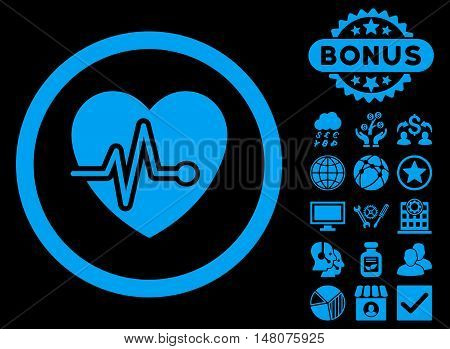 Heart Pulse icon with bonus design elements. Vector illustration style is flat iconic symbols blue color black background.