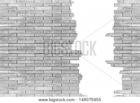 brick wall with hole Isolated on white background for design texture pattern and background.