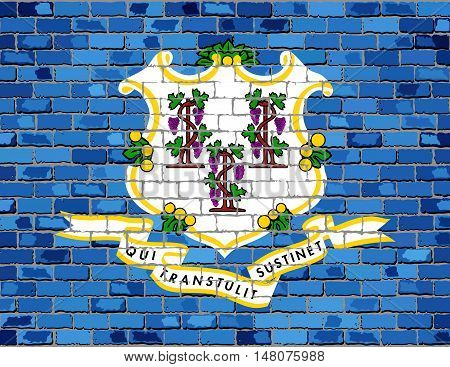 Flag of Connecticut on a brick wall - Illustration,  The flag of the state of Connecticut on brick textured background,  Georgia Flag in brick style