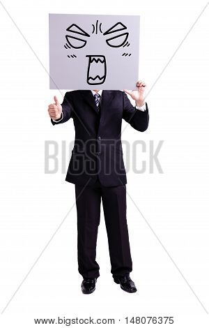 businessman holding angry expression billboard and thumb up with isolated white background