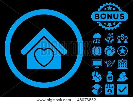 Hospice icon with bonus elements. Vector illustration style is flat iconic symbols blue color black background.