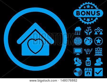 Hospice icon with bonus elements. Vector illustration style is flat iconic symbols blue color black background.