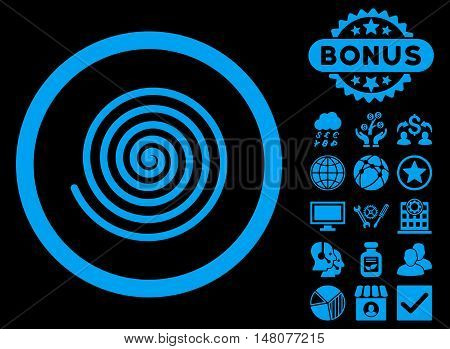 Hypnosis icon with bonus design elements. Vector illustration style is flat iconic symbols, blue color, black background.