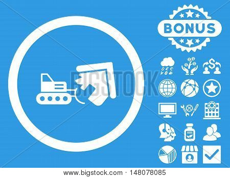 Demolition icon with bonus pictogram. Vector illustration style is flat iconic symbols, white color, blue background.