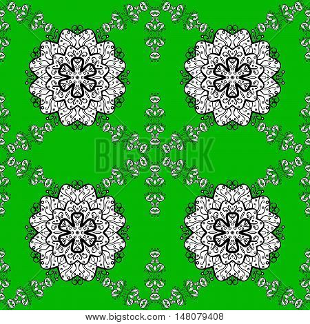 Seamless background. Circle flower mandalas seamless pattern in black white and green